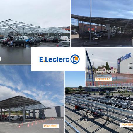 Chantiers TRIANGLE HORIZON en cours sur cinq aires de stationnement de magasins LECLERC.