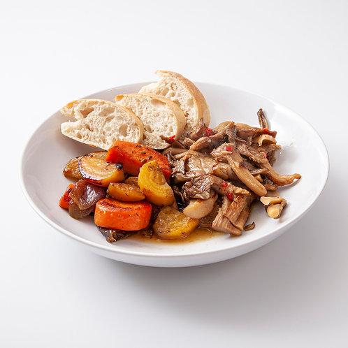 Oesterzwammen in knoflookolie met gegrilde biet, wortel, ui en brood 1 persoon