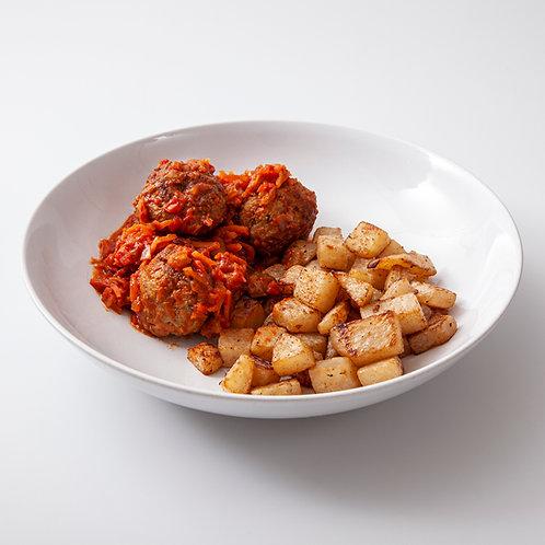 Gehaktballetjes in tomatensaus met aardappels en koolrabi voor 1 persoon