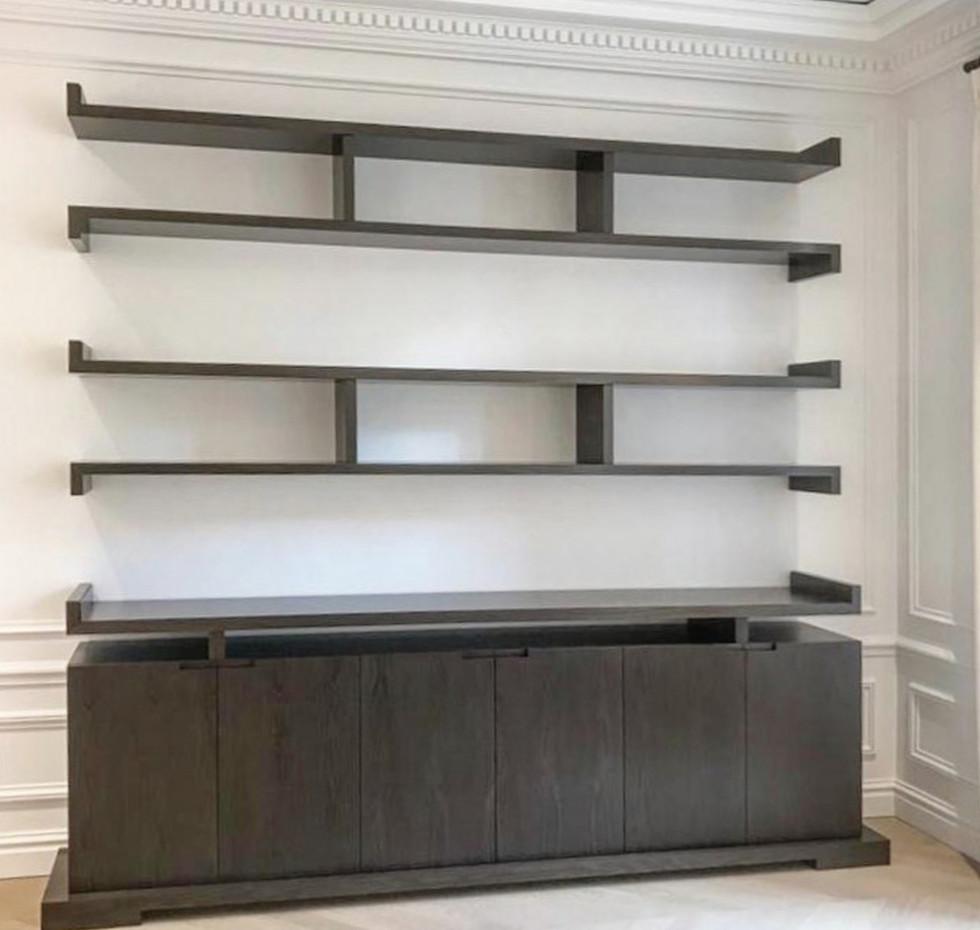 Bibliotheque Pagode sur mesure avec meub