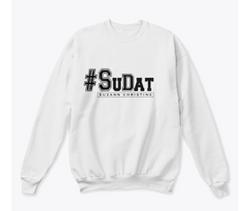 White and black #SuDat Crew neck