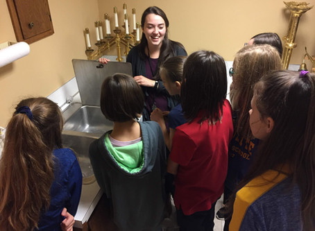 Middle school learned how to serve at Mass