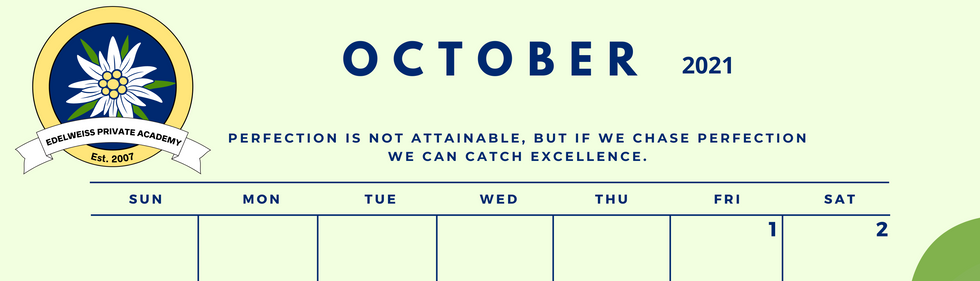 October 2021 EPA Calendar