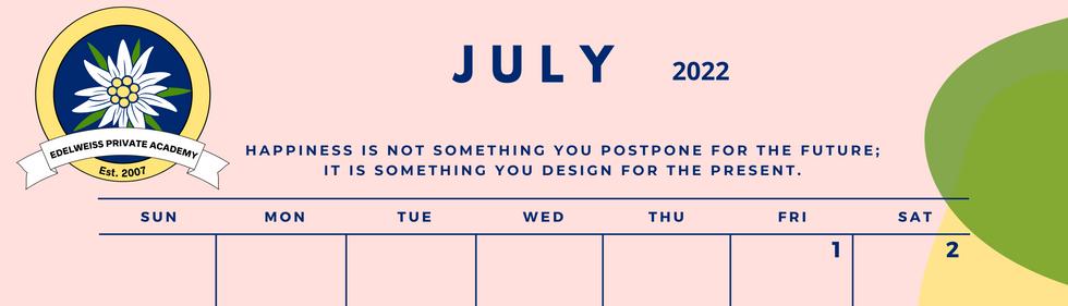 July 2022 EPA Calendar
