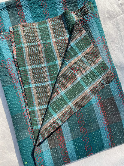 "Vintage Kantha Quilt ""Mad Plaid"""