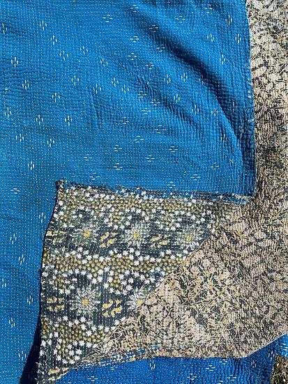"""Vintage Kantha Quilt """"Blue Two"""""""