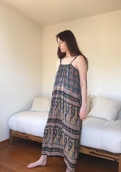 Silk, teal & black printed silk size large