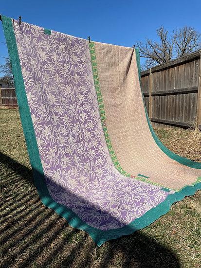 """Vintage Kantha Quilt """"Floral Delight"""""""