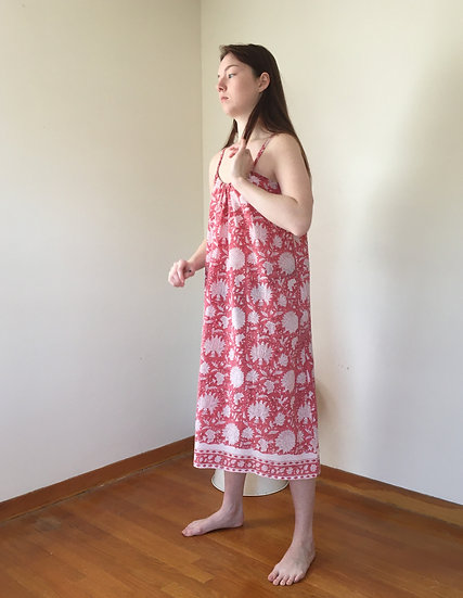 coral & white cotton size large