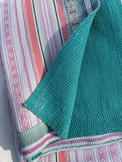 """Vintage Kantha Quilt """"Peach/Pink"""""""