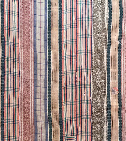 """Vintage Kantha Quilt """"Lots of Stripes"""""""