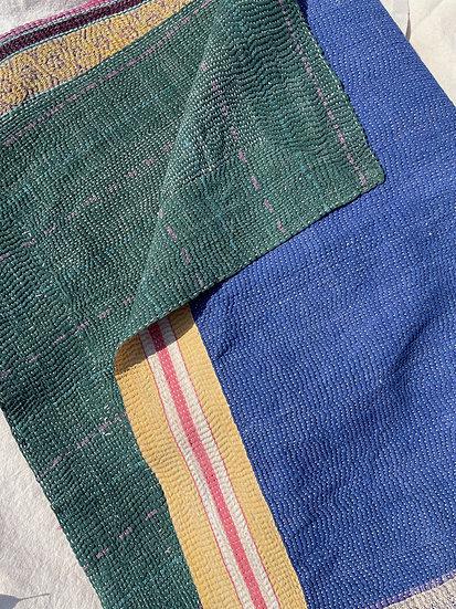 "Vintage Kantha Quilt ""Yellow Frame"""