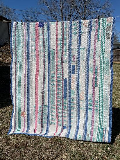 """Vintage Kantha Quilt """"Stripes"""""""