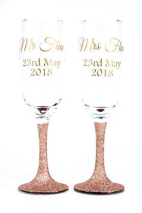 Glitter Stem Personalised Champagne Glasses