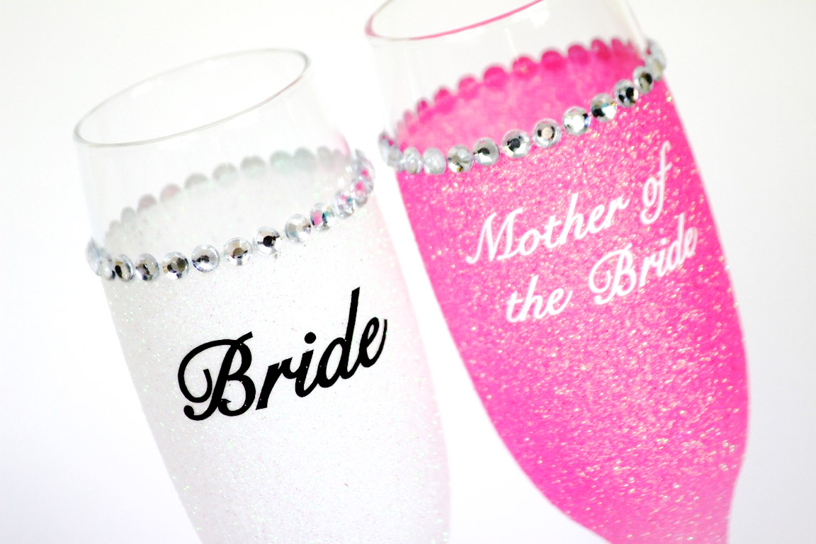 Glitter Personalised Champagne Glasses