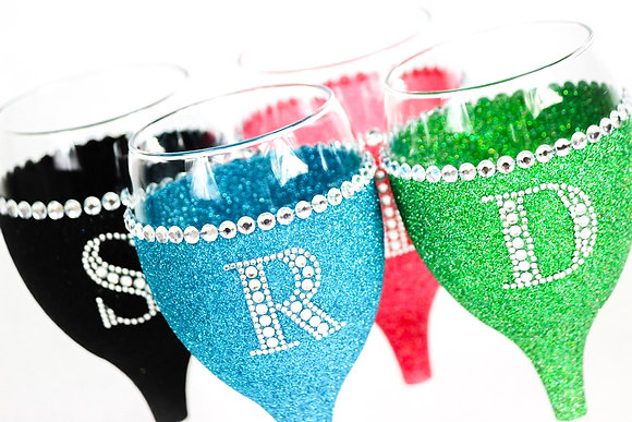 Glitter Diamante Trim Wine Glass Ltr/Number