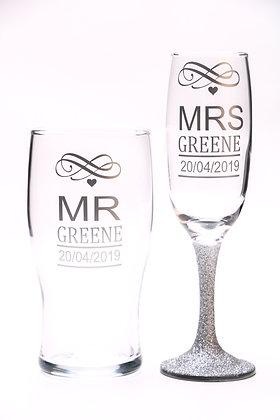 Wedding/Anniversary Glitter Glass Set
