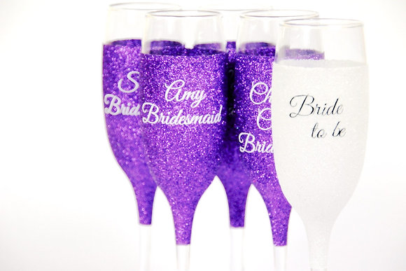 Personalised Glitter Wedding Champagne Glass