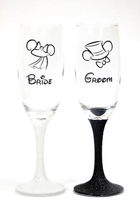 Mickey & Minnie Wedding Champagne Glasses