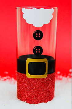 Santa Christmas Hiball Glitter Glass