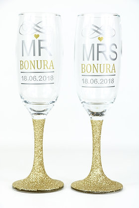 Mr & Mrs Personalised Glitter Champagne Glasses