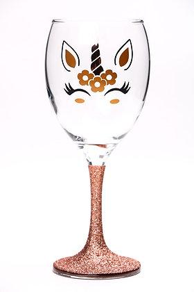 Rose Gold Unicorn Wine Glass