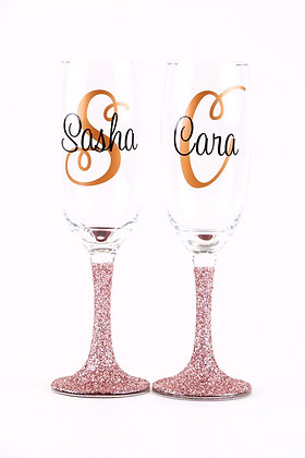 Glitter Personalised Champagne Glass