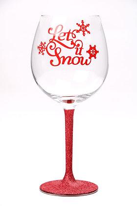 Let it Snow Large Glitter Wine Glass
