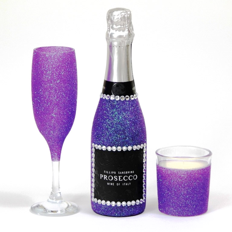 Glitter Prosecco Bottle and GlassSet
