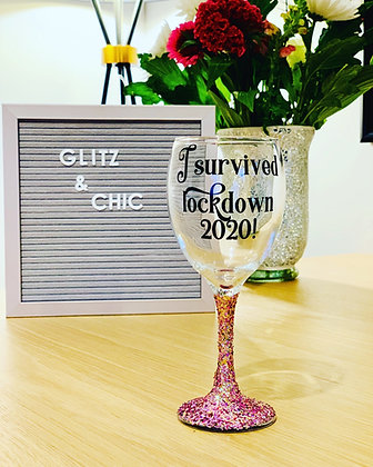 I survived lockdown 2020 Glitter Glass
