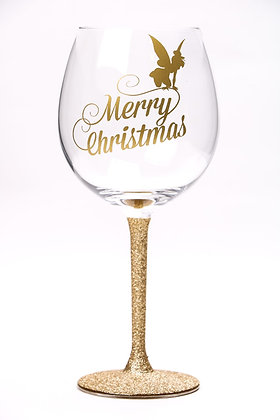Tinkerbell Large Glitter Wine Glass