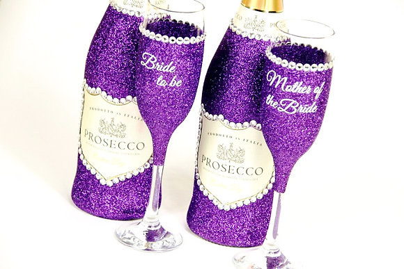 Glitter Prosecco Bottle & Glass Gift