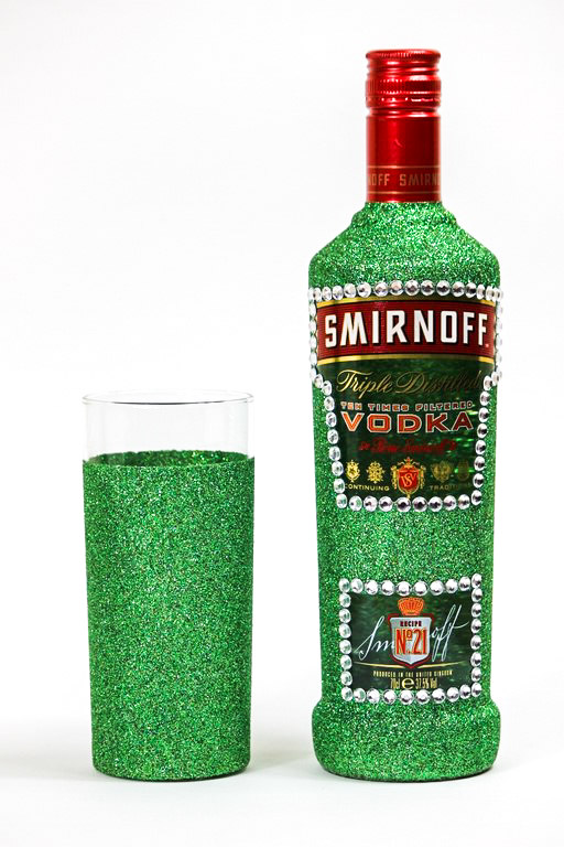 Glitter Smirnoff Bottle and Glass Set