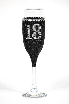 Glitter Champagne Glass Diamante Number/Letter