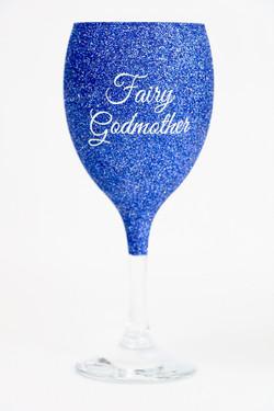 Godmother Glitter Wine Glass