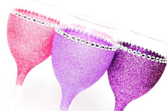 Diamante Trim Glitter Wine Glass