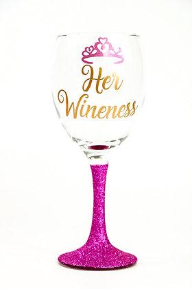 Her Wineness Glitter Wine Glass