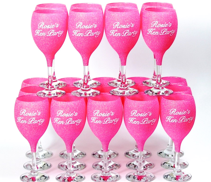 Glitter Hen Party Wine Glasses