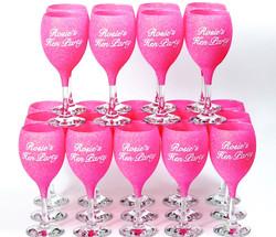 Glitter Hen Party Wine Glasses