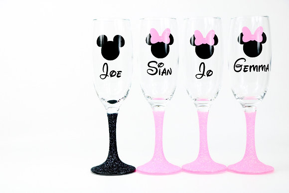 Mickey or Minnie Glitter Champagne Glasses