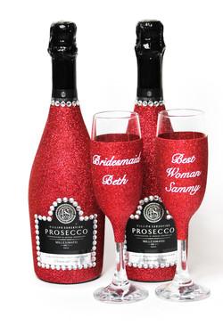 Glitter Prosecco Bottle and Glass Set