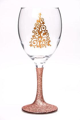 Rose Gold Christmas Tree Glitter Wine Glass