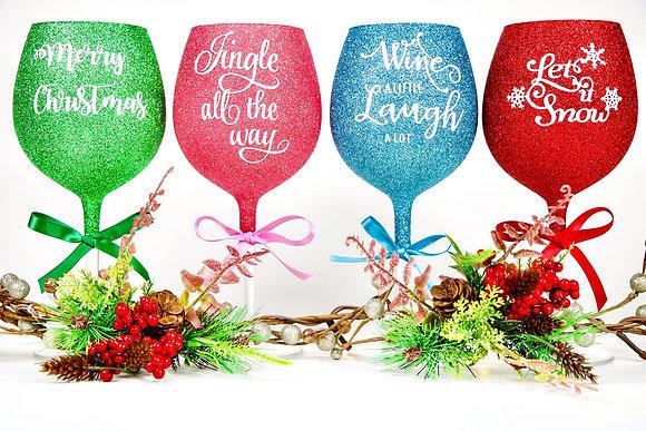 Large Christmas Glitter Wine Glass