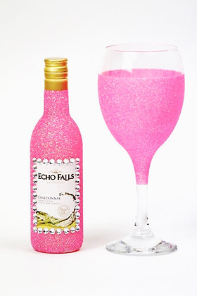 Glitter Glass & Wine Bottle Set