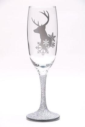 Silver Glitter Deer & Snowflake Champagne Glass