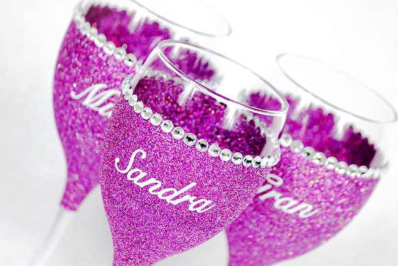 Diamante Trim Wine Glass with Name