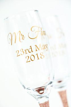 Wedding Glitter Champagne Glasses