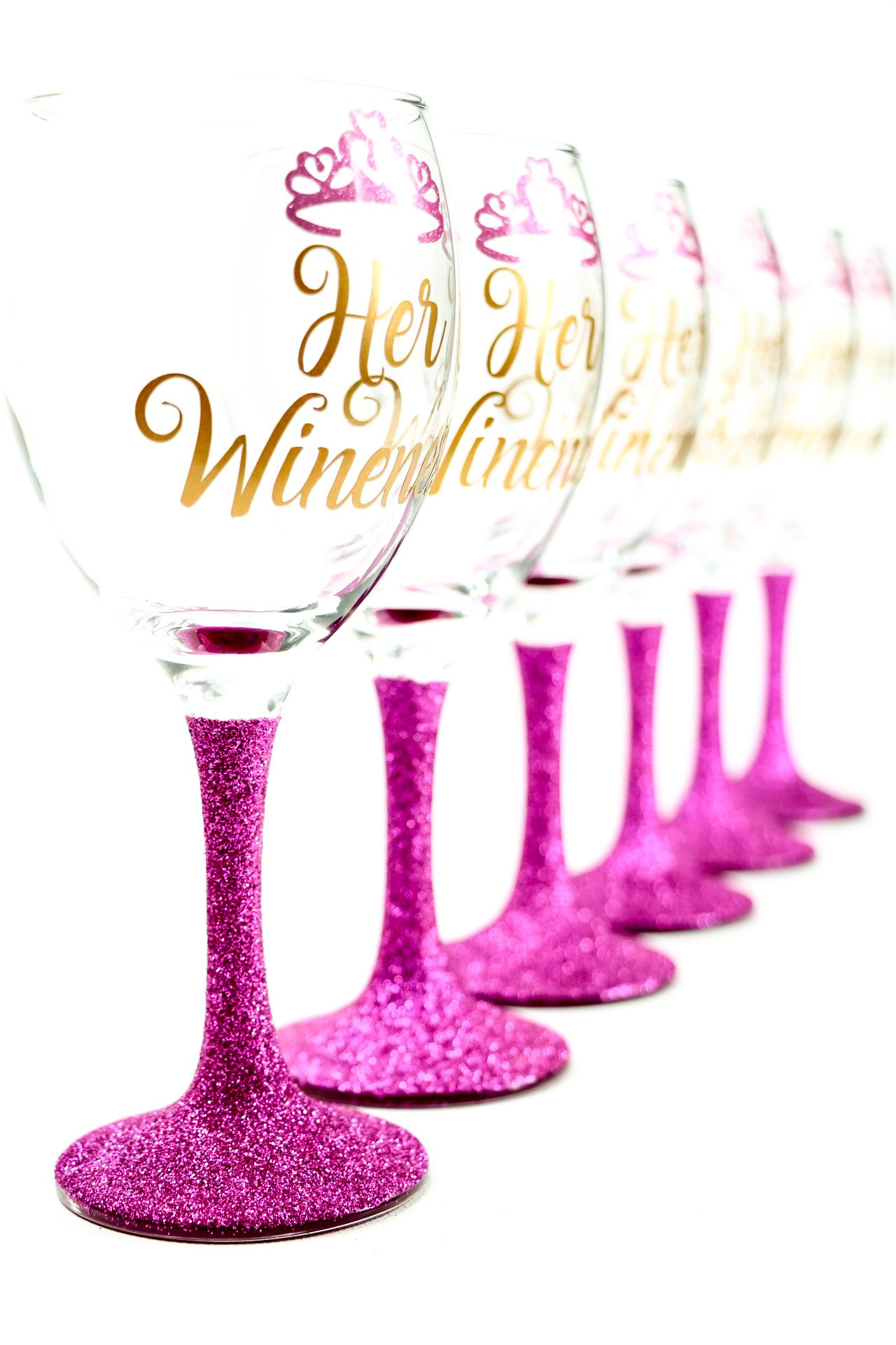 Her Wineness Glitter Wine Glasses