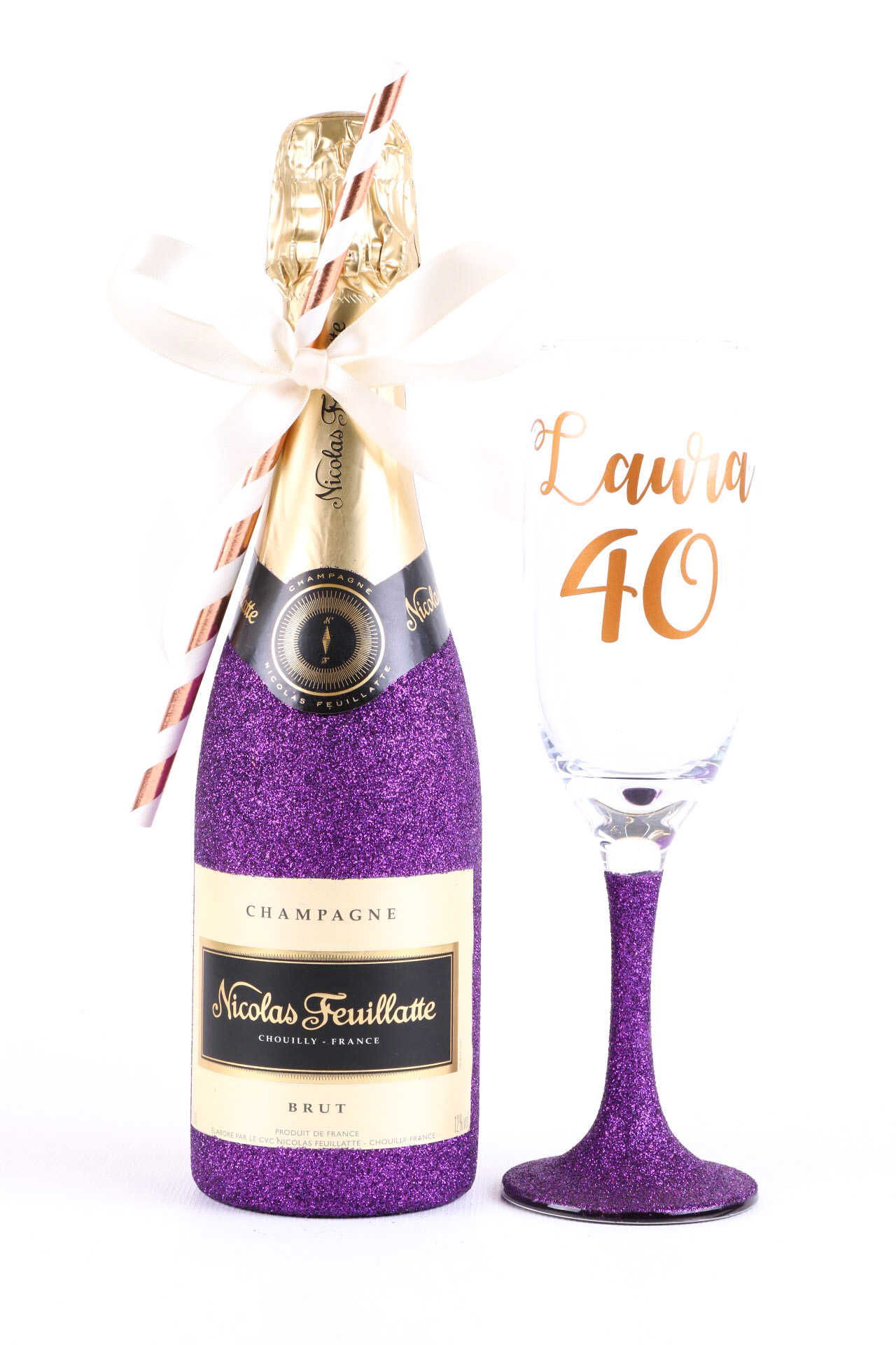 Glitter Champagne Bottle gift set