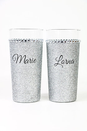 Glitter personalised hiball glass with name